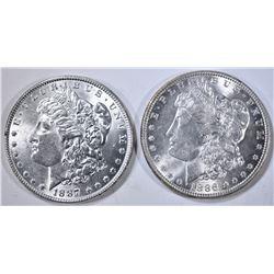 1886 & 1887 MORGAN DOLLARS CH BU