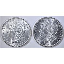 1890 & 1897 MORGAN DOLLARS, CH BU