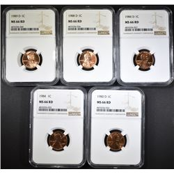 5-NGC GRADED MS-66 RED LINCOLN CENTS: