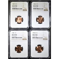 1984-D, 85, 86-D, 87-D LINCOLN CENTS NGC MS-67 RED