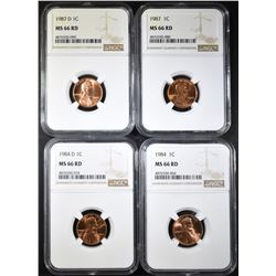 1984-P&D, 87-P&D LINCOLN CENTS, NGC MS-66 RED