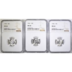 1946, 51 & 53 ROOSEVELT DIMES, NGC MS-66
