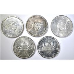 3-1964 & 2-65 CANADIAN SILVER DOLLARS