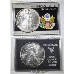 1994 & 95 GEM BU AMERICAN SILVER EAGLES