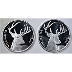2- WHITETAIL DEER 1oz .999 SILVER ROUNDS
