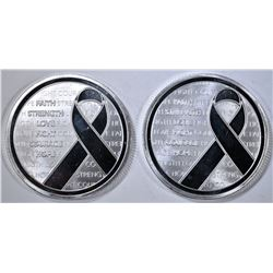 2 STREGNTH RIBBON 1oz SILVER ROUNDS