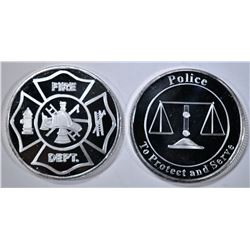 FIRE DEPT & POLICE 1oz .999 SILVER ROUNDS