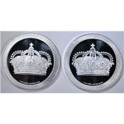 """2- .999 SILVERTOWNE """"CROWN"""" 1OZ STACKABLE ROUNDS"""