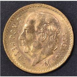 1955 BU MEXICO 5 PESOS GOLD