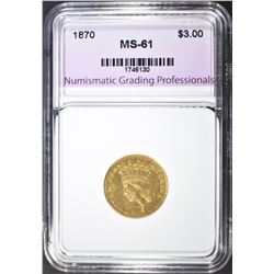 1870 $3.00 GOLD, NGP BU