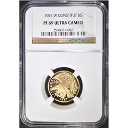 1987-W CONSTITUTION $5 GOLD NGC PF-69 ULTRA CAM
