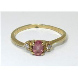 10 KT Yellow Gold Diamond & Pink Tourmaline Ring