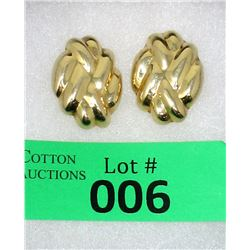 10.5 Gram 14 KT Yellow Gold Ladies Earrings