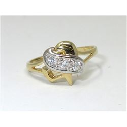 18 KT White & Yellow Gold Heart Crossover Ring