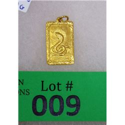 .999 Fine Gold Year of the Snake Bar/Pendant - 4.3 Grams