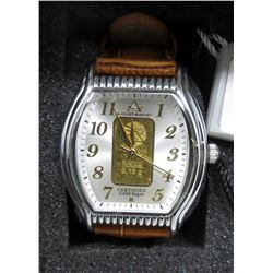 Ladies New in Box August Steiner Gold Bar Watch