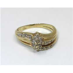 14 KT White & Yellow Gold Diamond Ring - 3.9 Grams