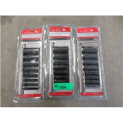 3 New 9 Piece 3/8 Drive Deep Impact Socket Sets