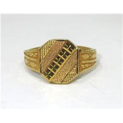 Estate - 22 KT Yellow Gold Diamond Cut Ring
