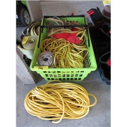 Bin of Rope & 100 Foot Extension Cord