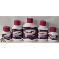 5 ASSORTED SIZE BOTTLES OF RESTORALAX