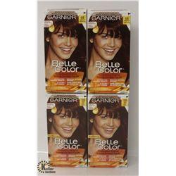 4 BOXES OF GARNIER BELLA COLOR REDDISH BROWN