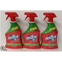 3 BOTTLES OF RESOLVE SPRAY N WASH STAIN REMOVER