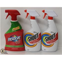 2 BOTTLES OF SHOUT TRIPLE-ACTION STAIN REMOVER &