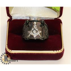 SILVER TONE WITH BLACK MASONIC RING SZ 14.5