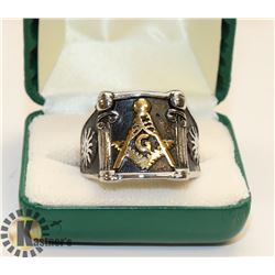 BLACK WITH SILVER TONE MASONIC RING SZ 14.5