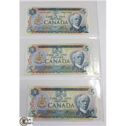 LOT OF 3 CANADIAN 5 DOLLAR BILLS - 1972 & 1979.