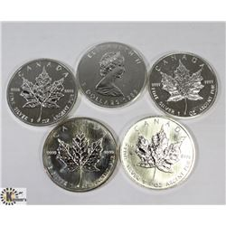 LOT OF 5 CANADIAN 1988 FINE SILVER .9999 $5 COIN.