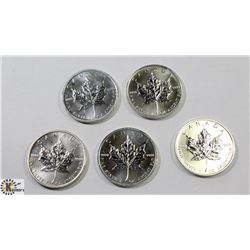 LOT OF 5 CANADIAN 2011 FINE SILVER .9999 $5 COIN.