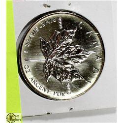 1995 CANADIAN 1 OUNCE .999 FINE SILVER $5 COIN.