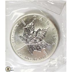 1989 CANADIAN 1 OUNCE .999 FINE SILVER $5 COIN.