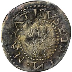 1652 Massachusetts Bay Colony. Oak Tree Sixpence. Noe-20, Crosby 1a-D, W-400. Rarity-6. EF Details –