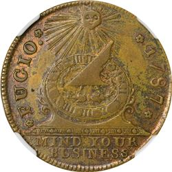 """1787"" (circa 1859-1860) Fugio. New Haven Restrike. Newman 104-FF. MS-62 BN NGC."