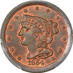 1854 B-1. Rarity-1. Mint Error – Curved Clip at 8:00 – MS-65 RB PCGS.