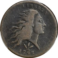 1793 Wreath. Vine and Bars Edge. Sheldon-8, BW-18. Triangular Bow. Rarity-3. VG-8 PCGS.
