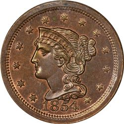 1854 N-12. Rarity-6 as a Proof. Proof-65 RB NGC.