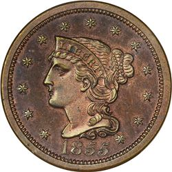 1855 Italic 5s. N-10. Rarity-5 as a Proof. Proof-65 RB NGC.