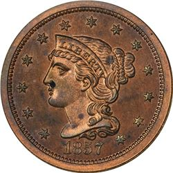 1857 Large Cent. Small Date. N-3. Low Rarity-5 as a Proof. Proof-64 RB NGC.