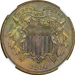 1864 Small Motto. MS-63 BN NGC.