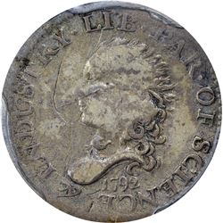 1792 Half Disme. Judd-7, Pollock-7, Logan McCloskey-1. Rarity-4. Genuine. Fine Details – Damage. PCG