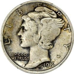 1916-D Mercury. EF Details – Cleaning – Genuine PCGS.