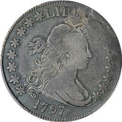 1797 O-101. 15 Stars. Rarity-5. Genuine – Plugged – Fine Details PCGS.