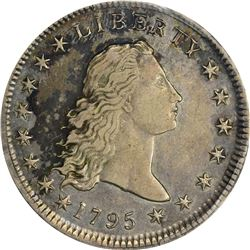 1795 Flowing Hair. B-4, BB-14. Head of '94. Hidden Star, 2 Leaves. Rarity-3. AU-53 PCGS.