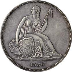 1836 Gobrecht Dollar. Judd-60, Pollock-65. Name on Base. Original. Die Alignment IV or Medal Turn. P