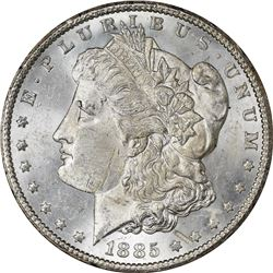 1885-CC Mint Error – Obverse Struck Through – MS-61 NGC.