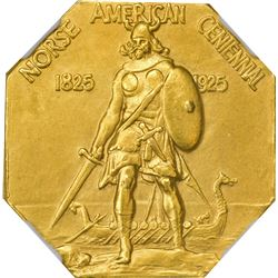 Norse-American Medal. Gold. Octagonal. Matte Proof-65 NGC.